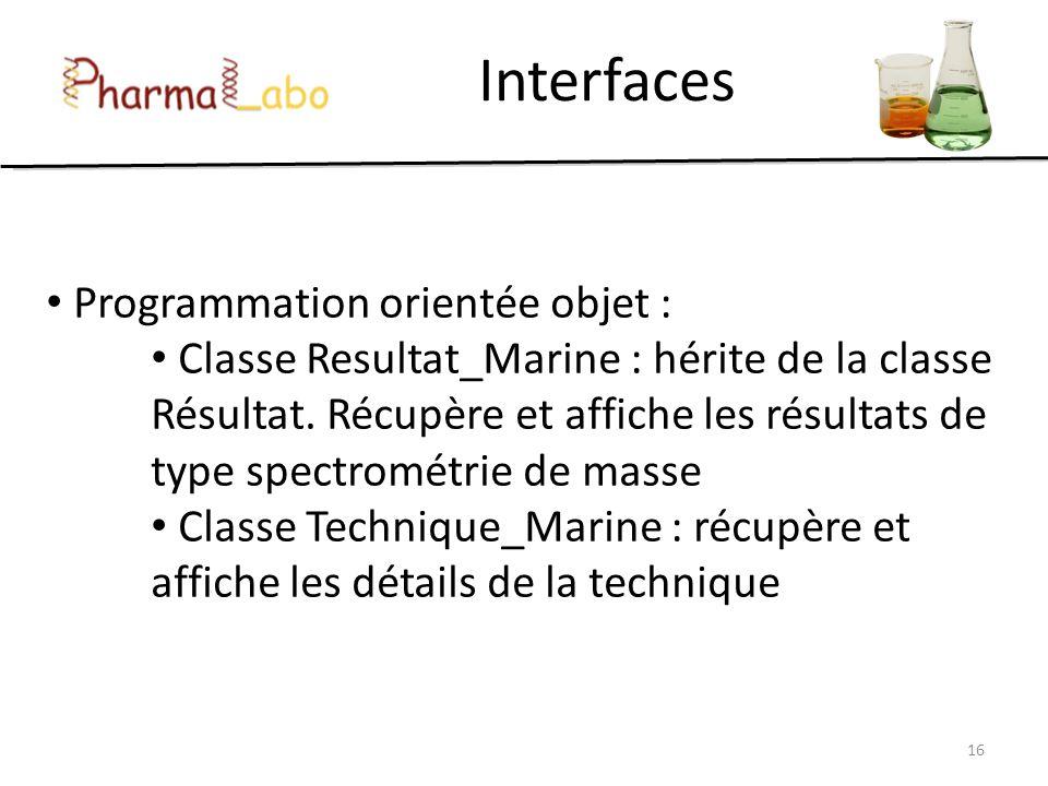 Interfaces 16 Programmation orientée objet : Classe Resultat_Marine : hérite de la classe Résultat. Récupère et affiche les résultats de type spectrom
