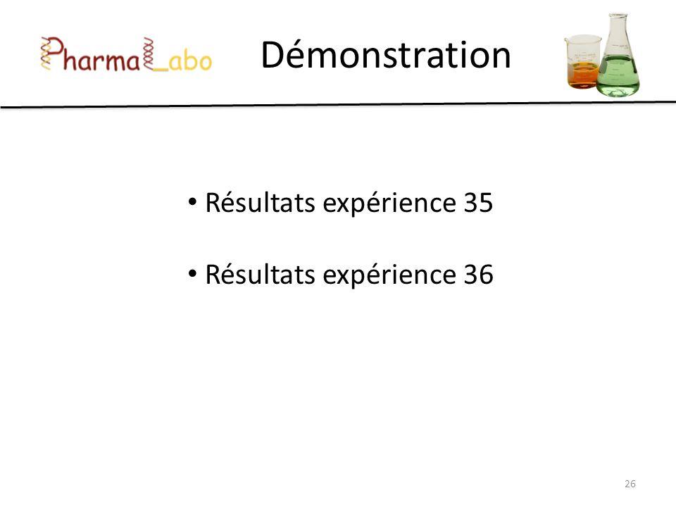 Démonstration Résultats expérience 35 Résultats expérience 36 26