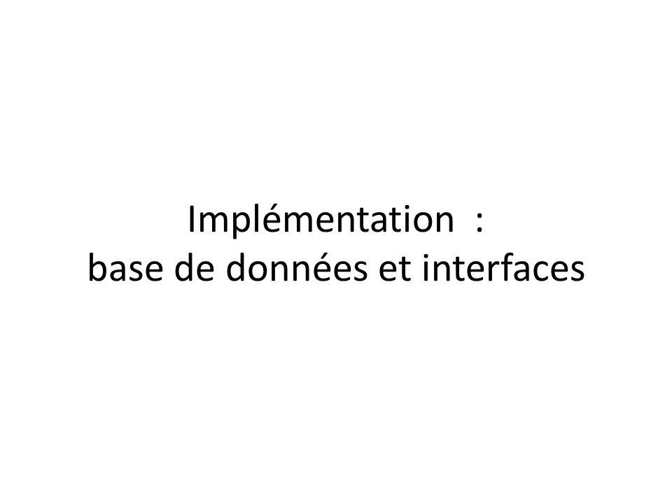 Implémentation : base de données et interfaces