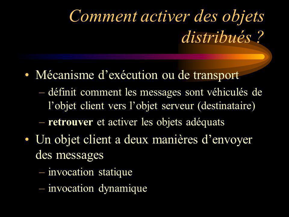 Comment activer des objets distribués ? Mécanisme dexécution ou de transport –définit comment les messages sont véhiculés de lobjet client vers lobjet