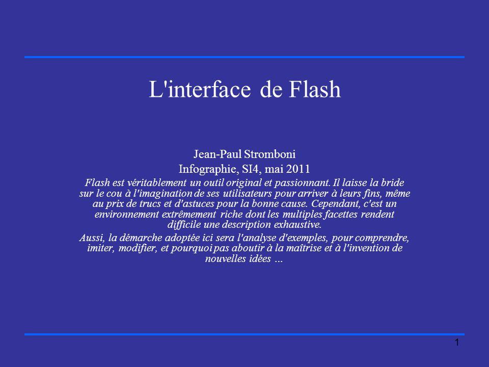 1 L interface de Flash Jean-Paul Stromboni Infographie, SI4, mai 2011 Flash est véritablement un outil original et passionnant.