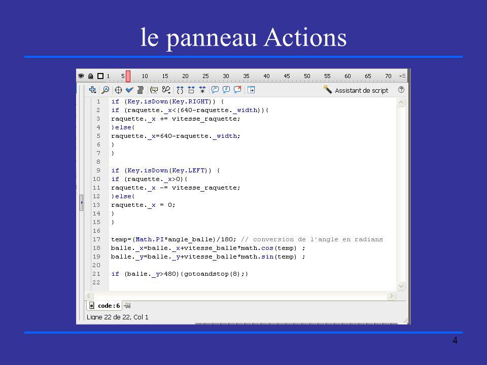 4 le panneau Actions