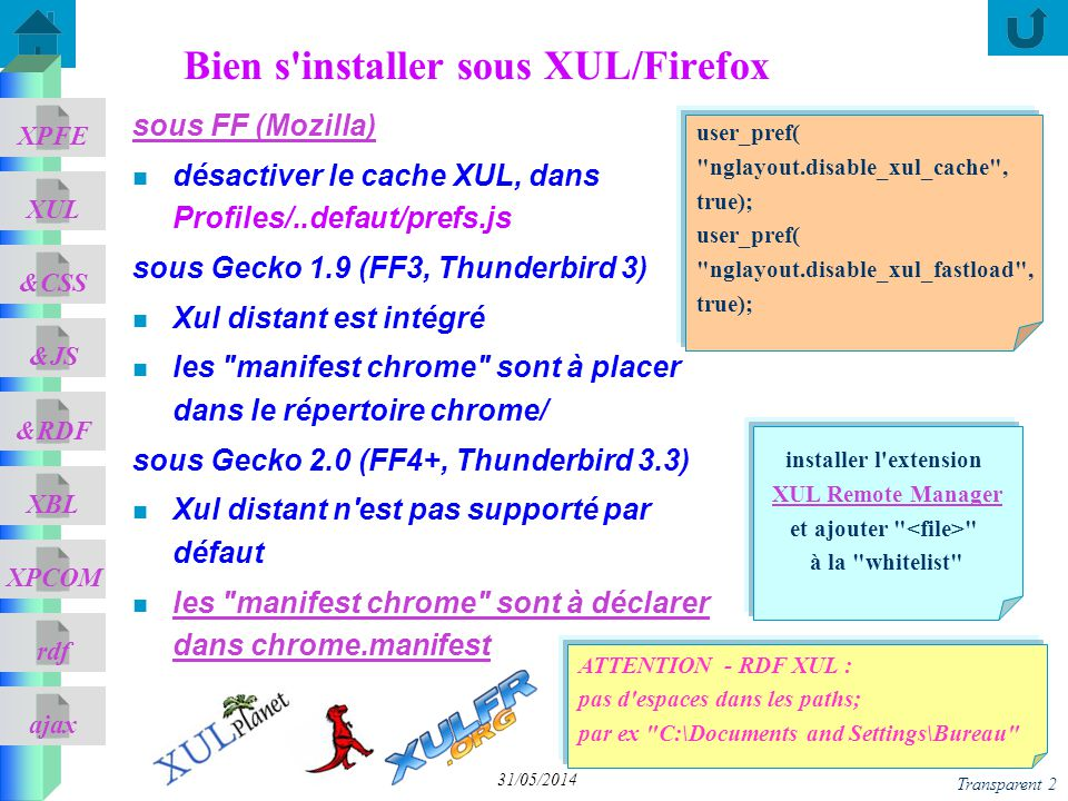 ajax &CSS XUL XPFE &JS &RDF XBL XPCOM rdf Transparent 63 31/05/2014 <bindings xmlns= http://www.mozilla.org/xbl xmlns:xbl= http://www.mozilla.org/xbl xmlns:html= http://www.w3.org/1999/xhtml xmlns:xul= http://www.mozilla.org/keymaster/gatekeeper/there.is.only.xul> <xul:button xbl:inherits= label=previoustext oncommand= parentNode.parentNode.parentNode.page--; /> <xul:button xbl:inherits= label=nexttext oncommand= parentNode.parentNode.parentNode.page++; />