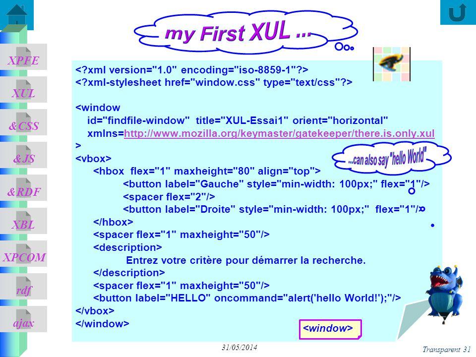 ajax &CSS XUL XPFE &JS &RDF XBL XPCOM rdf Transparent 31 31/05/2014 <window id= findfile-window title= XUL-Essai1 orient= horizontal xmlns=http://www.mozilla.org/keymaster/gatekeeper/there.is.only.xulhttp://www.mozilla.org/keymaster/gatekeeper/there.is.only.xul > Entrez votre critère pour démarrer la recherche.