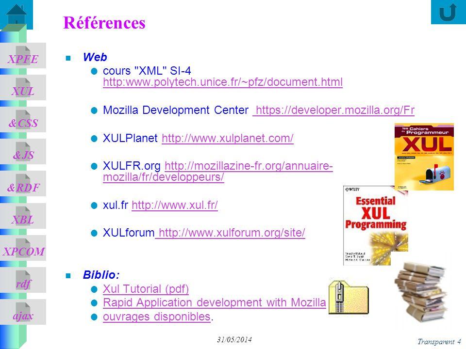 ajax &CSS XUL XPFE &JS &RDF XBL XPCOM rdf Transparent 4 31/05/2014 n Web cours XML SI-4 http:www.polytech.unice.fr/~pfz/document.html http:www.polytech.unice.fr/~pfz/document.html Mozilla Development Center https://developer.mozilla.org/Fr https://developer.mozilla.org/Fr XULPlanet http://www.xulplanet.com/http://www.xulplanet.com/ XULFR.org http://mozillazine-fr.org/annuaire- mozilla/fr/developpeurs/http://mozillazine-fr.org/annuaire- mozilla/fr/developpeurs/ xul.fr http://www.xul.fr/http://www.xul.fr/ XULforum http://www.xulforum.org/site/ http://www.xulforum.org/site/ n Biblio: Xul Tutorial (pdf) Rapid Application development with Mozilla ouvrages disponibles.
