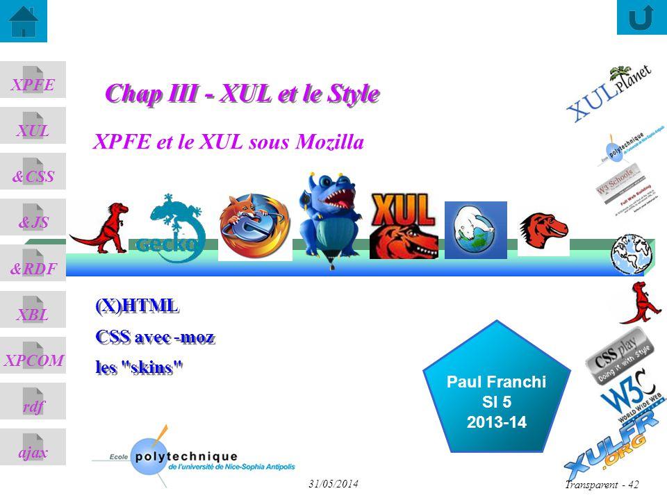 XPFE et le XUL sous Mozilla ajax &CSS XUL XPFE &JS &RDF XBL XPCOM rdf Paul Franchi SI 5 2013-14 31/05/2014 Transparent - 42 (X)HTML CSS avec -moz les