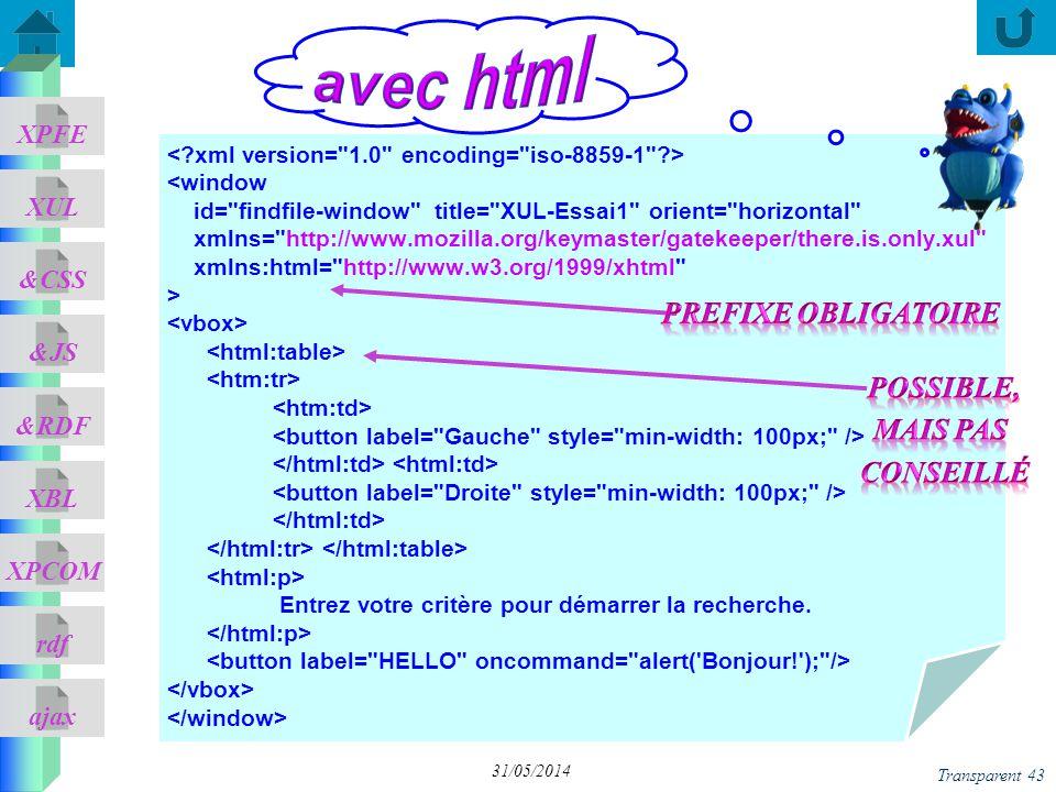 ajax &CSS XUL XPFE &JS &RDF XBL XPCOM rdf Transparent 43 31/05/2014 <window id=