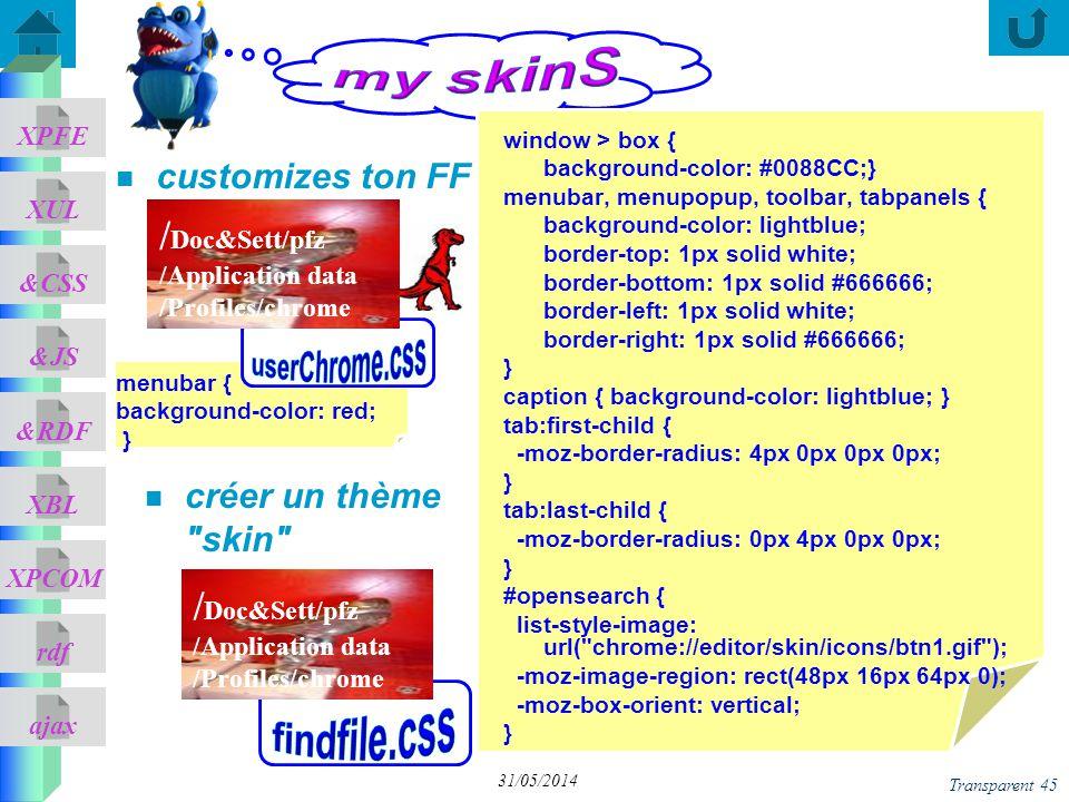 ajax &CSS XUL XPFE &JS &RDF XBL XPCOM rdf Transparent 45 31/05/2014 créer un thème skin menubar { background-color: red; } n customizes ton FF window > box { background-color: #0088CC;} menubar, menupopup, toolbar, tabpanels { background-color: lightblue; border-top: 1px solid white; border-bottom: 1px solid #666666; border-left: 1px solid white; border-right: 1px solid #666666; } caption { background-color: lightblue; } tab:first-child { -moz-border-radius: 4px 0px 0px 0px; } tab:last-child { -moz-border-radius: 0px 4px 0px 0px; } #opensearch { list-style-image: url( chrome://editor/skin/icons/btn1.gif ); -moz-image-region: rect(48px 16px 64px 0); -moz-box-orient: vertical; } / Doc&Sett/pfz /Application data /Profiles/chrome / Doc&Sett/pfz /Application data /Profiles/chrome