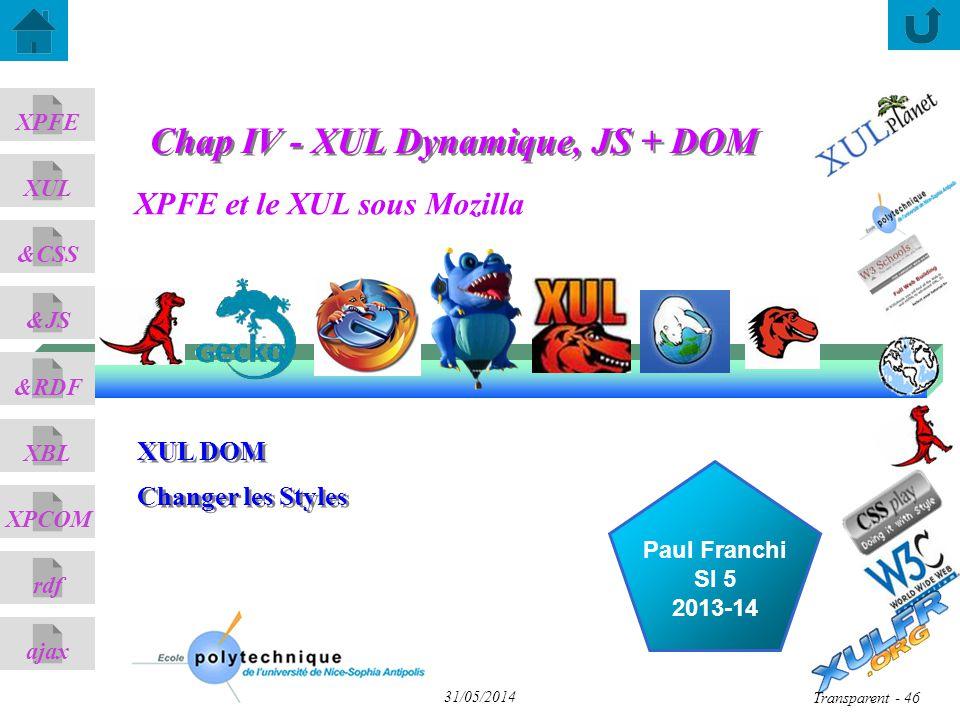 XPFE et le XUL sous Mozilla ajax &CSS XUL XPFE &JS &RDF XBL XPCOM rdf Paul Franchi SI 5 2013-14 31/05/2014 Transparent - 46 XUL DOM Changer les Styles XUL DOM Changer les Styles Chap IV - XUL Dynamique, JS + DOM