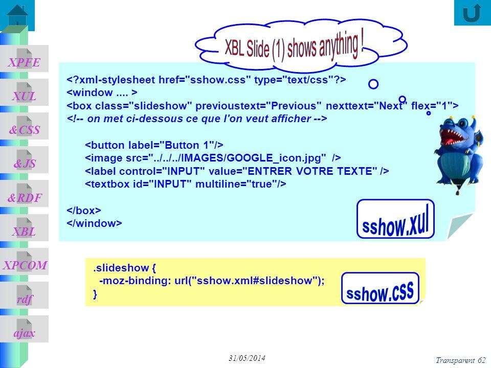 ajax &CSS XUL XPFE &JS &RDF XBL XPCOM rdf Transparent 62 31/05/2014.slideshow { -moz-binding: url(