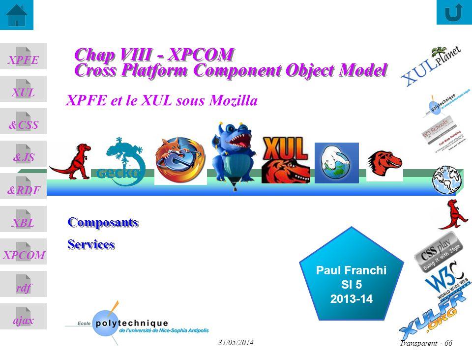 XPFE et le XUL sous Mozilla ajax &CSS XUL XPFE &JS &RDF XBL XPCOM rdf Paul Franchi SI 5 2013-14 31/05/2014 Transparent - 66 Composants Services Composants Services Chap VIII - XPCOM Cross Platform Component Object Model