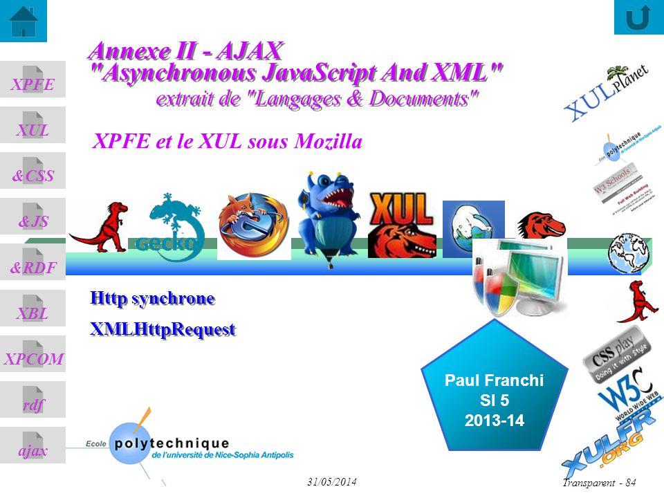 XPFE et le XUL sous Mozilla ajax &CSS XUL XPFE &JS &RDF XBL XPCOM rdf Paul Franchi SI 5 2013-14 31/05/2014 Transparent - 84 Http synchrone XMLHttpRequest Http synchrone XMLHttpRequest extrait de Langages & Documents Annexe II - AJAX Asynchronous JavaScript And XML