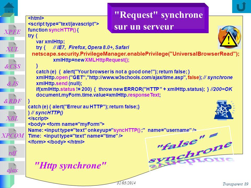 ajax &CSS XUL XPFE &JS &RDF XBL XPCOM rdf Transparent 89 31/05/2014 function syncHTTP() { try { var xmlHttp; try { // IE7, Firefox, Opera 8.0+, Safari netscape.security.PrivilegeManager.enablePrivilege( UniversalBrowserRead ); xmlHttp=new XMLHttpRequest(); } catch (e) { alert( Your browser is not a good one! ); return false; } xmlHttp.open ( GET , http://www.w3schools.com/ajax/time.asp , false); // synchrone xmlHttp.send (null); if(xmlHttp.status != 200) { throw new ERROR( HTTP + xmlHttp.status); } //200=OK document.myForm.time.value=xmlHttp.responseText; } catch (e) { alert( Erreur au HTTP ); return false;} } // syncHTTP() Name: Time: Http synchrone Request synchrone sur un serveur