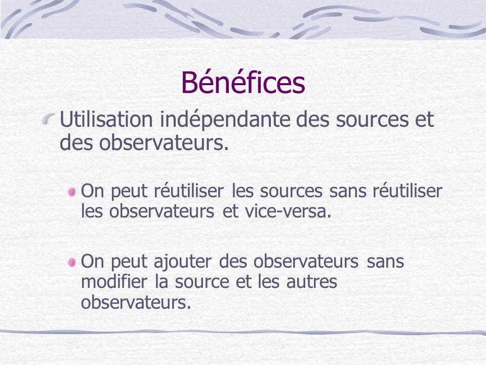 Bénéfices Utilisation indépendante des sources et des observateurs. On peut réutiliser les sources sans réutiliser les observateurs et vice-versa. On