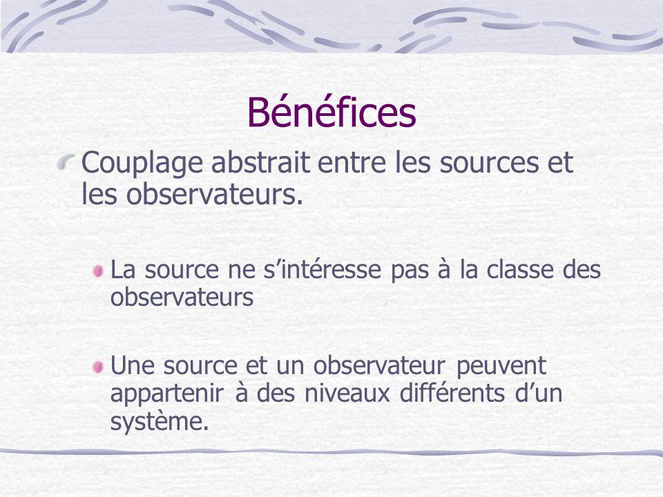 Bénéfices Couplage abstrait entre les sources et les observateurs. La source ne sintéresse pas à la classe des observateurs Une source et un observate