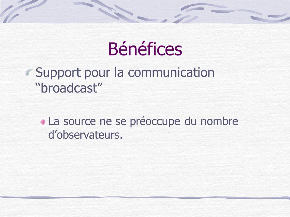 Bénéfices Support pour la communication broadcast La source ne se préoccupe du nombre dobservateurs.