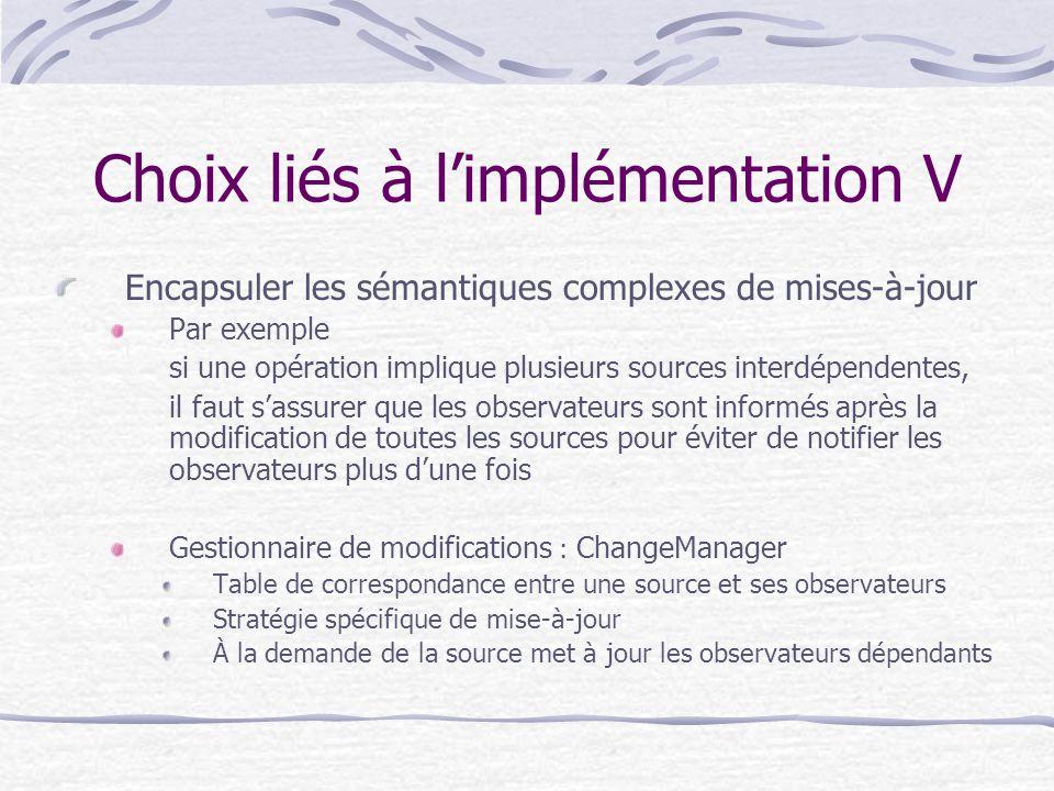 Choix liés à limplémentation V Encapsuler les sémantiques complexes de mises-à-jour Par exemple si une opération implique plusieurs sources interdépen