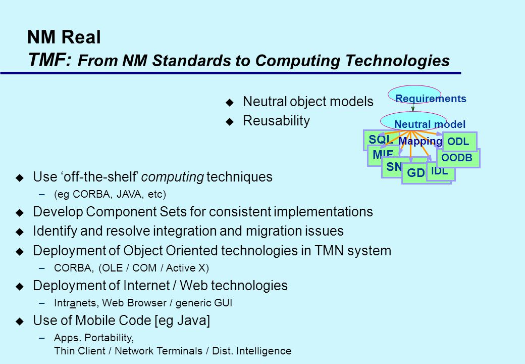 NM Real TMF: From NM Standards to Computing Technologies u Neutral object models u Reusability Requirements SQL MIF SNMP GDMO IDL OODB ODL Mapping Neutral model u Use off-the-shelf computing techniques –(eg CORBA, JAVA, etc) u Develop Component Sets for consistent implementations u Identify and resolve integration and migration issues u Deployment of Object Oriented technologies in TMN system –CORBA, (OLE / COM / Active X) u Deployment of Internet / Web technologies –Intranets, Web Browser / generic GUI u Use of Mobile Code [eg Java] –Apps.