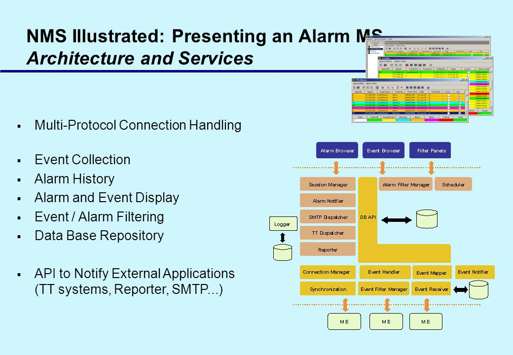 NMS Illustrated: Presenting an Alarm MS Architecture and Services Multi-Protocol Connection Handling Event Collection Alarm History Alarm and Event Display Event / Alarm Filtering Data Base Repository API to Notify External Applications (TT systems, Reporter, SMTP...)