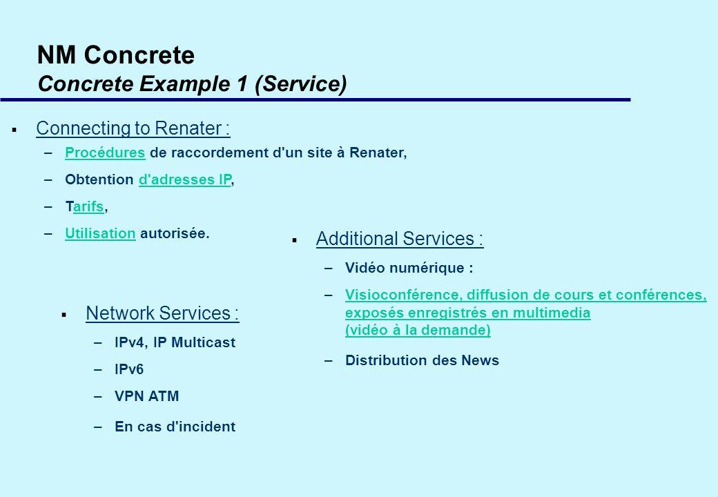NM Concrete Concrete Example 1 (Service) Connecting to Renater : –Procédures de raccordement d un site à Renater,Procédures –Obtention d adresses IP,d adresses IP –Tarifs,arifs –Utilisation autorisée.Utilisation Network Services : –IPv4, IP Multicast –IPv6 –VPN ATM –En cas d incident Additional Services : –Vidéo numérique : –Visioconférence, diffusion de cours et conférences, exposés enregistrés en multimedia (vidéo à la demande)Visioconférence, diffusion de cours et conférences, exposés enregistrés en multimedia (vidéo à la demande) –Distribution des News