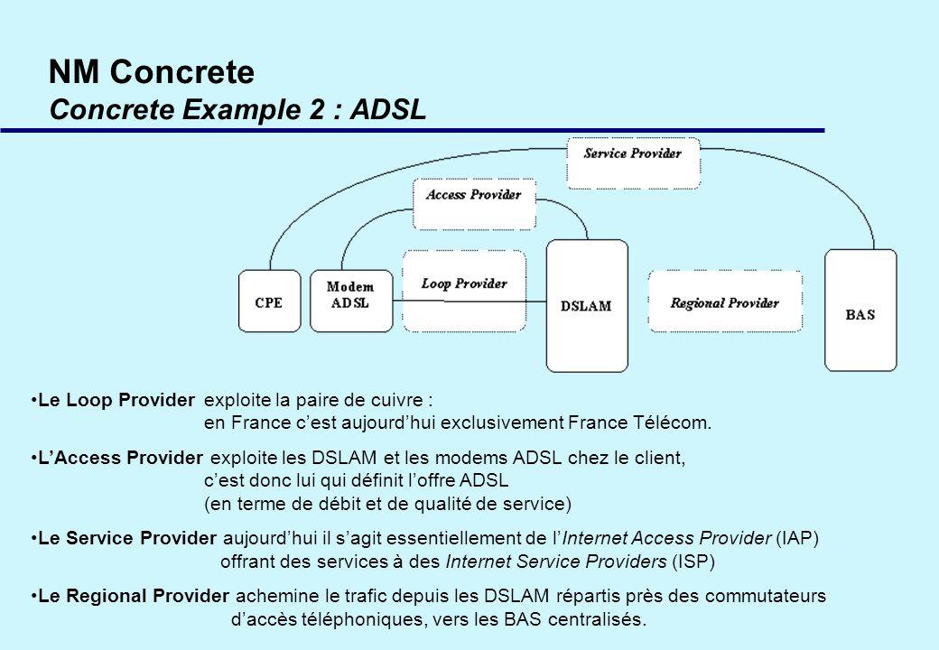 NM Concrete Concrete Example 2 : ADSL Le Loop Provider exploite la paire de cuivre : en France cest aujourdhui exclusivement France Télécom.