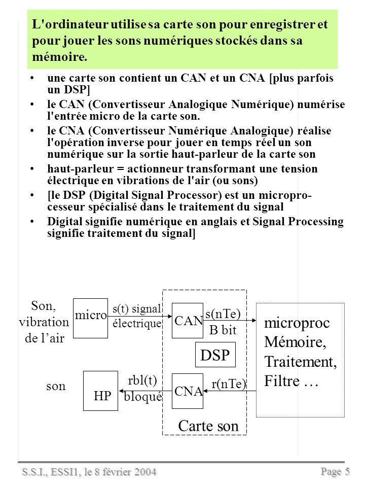S.S.I., ESSI1, le 8 février 2004 Page 4 Numériser un son, c est échantillonner et quantifier le signal audio quantifier = coder en binaire les échantillons –on note B le nombre de bits dun échantillon Lintervalle [-1,1] des valeurs possibles du signal audio est découpé en 2 B pas de quantification égaux (cas dune loi de quantification uniforme).