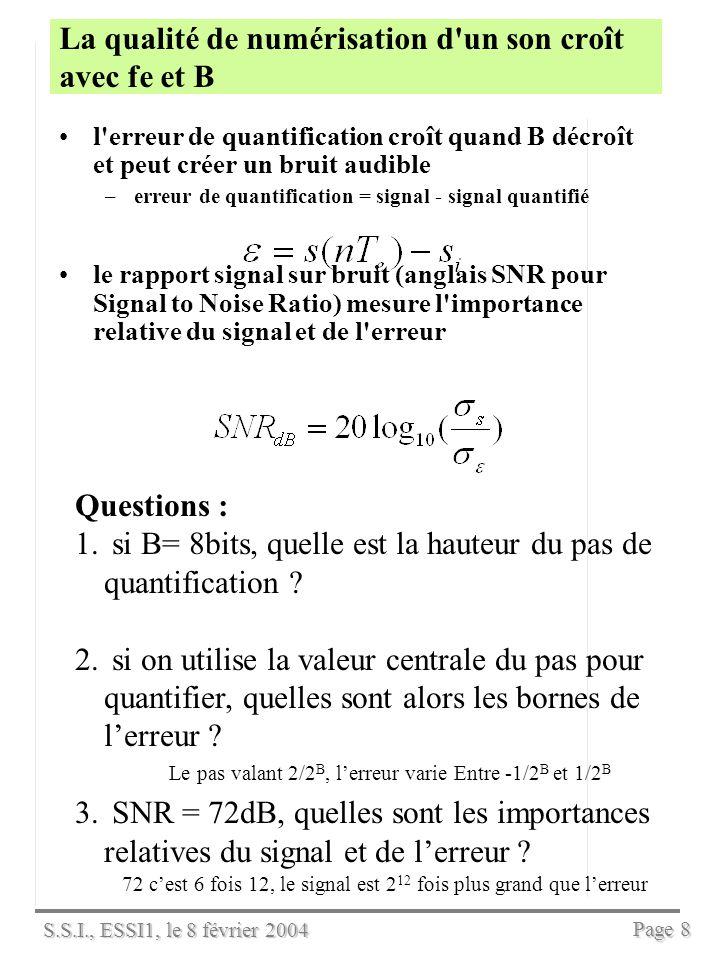 S.S.I., ESSI1, le 8 février 2004 Page 7 La qualité de numérisation d un son croît avec fe et B contrainte de Shannon : la fréquence d échantillonnage fe doit être au moins deux fois la largeur du spectre du signal à échantillonner –le spectre est la composition fréquencielle du signal (voir le chapitre Spectre et TFD) –par exemple, le signal s(t)=cos(2*440*pi*t) contient la seule fréquence 440 Hz (ou LA3 musical) et doit être échantillonné à fe= 880 Hz au moins.