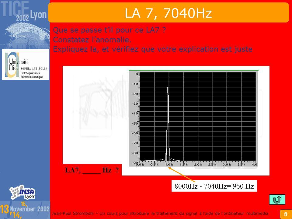 8 Jean-Paul Stromboni – Un cours pour introduire le traitement du signal à laide de lordinateur multimédia LA 7, 7040Hz Que se passe til pour ce LA7 .
