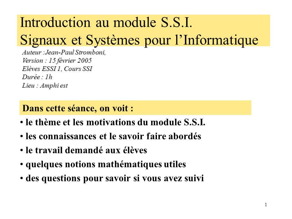 1 Introduction au module S.S.I.