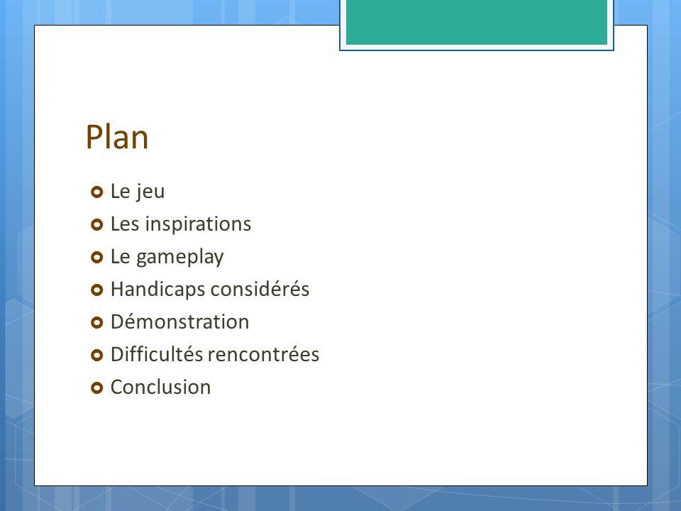 Plan Le jeu Les inspirations Le gameplay Handicaps considérés Démonstration Difficultés rencontrées Conclusion
