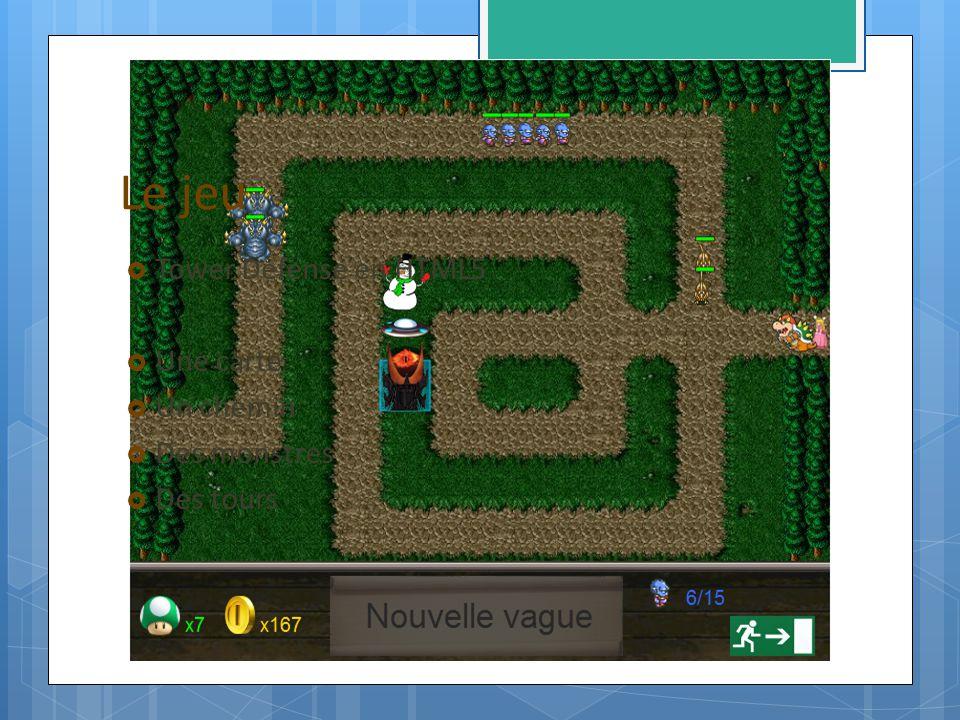 Le jeu Tower Defense en HTML5 Une carte Un chemin Des monstres Des tours