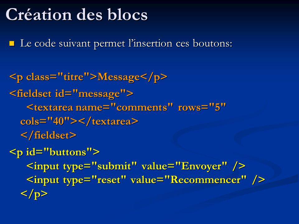 Le code suivant permet linsertion ces boutons: Le code suivant permet linsertion ces boutons: Message Message Création des blocs