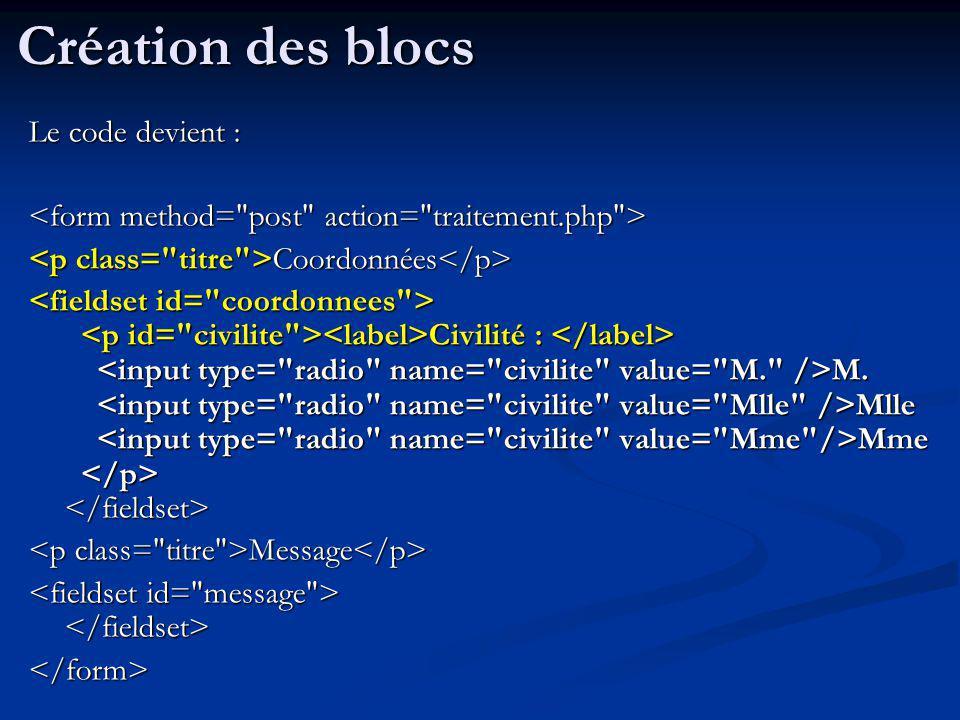 Le code devient : Coordonnées Coordonnées Civilité : M. Mlle Mme Civilité : M. Mlle Mme Message Message </form> Création des blocs