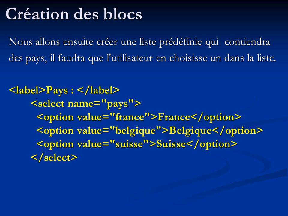 Nous allons ensuite créer une liste prédéfinie qui contiendra des pays, il faudra que l'utilisateur en choisisse un dans la liste. Pays : France Belgi