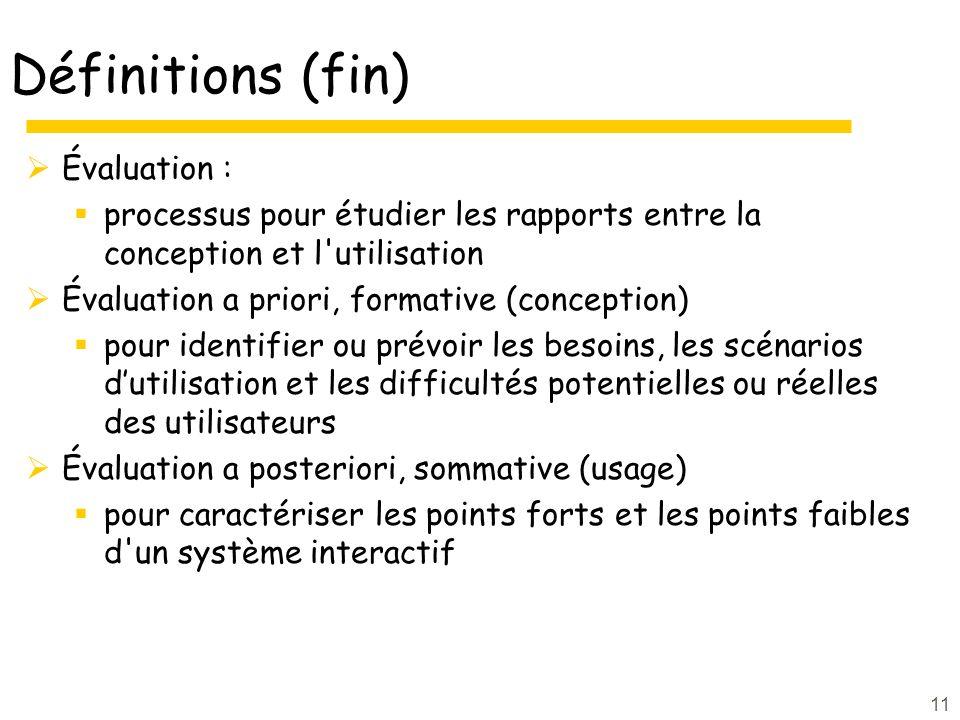 11 Définitions (fin) Évaluation : processus pour étudier les rapports entre la conception et l'utilisation Évaluation a priori, formative (conception)