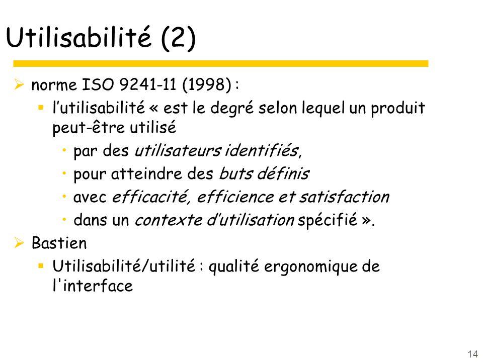 14 Utilisabilité (2) norme ISO 9241-11 (1998) : lutilisabilité « est le degré selon lequel un produit peut-être utilisé par des utilisateurs identifiés, pour atteindre des buts définis avec efficacité, efficience et satisfaction dans un contexte dutilisation spécifié ».