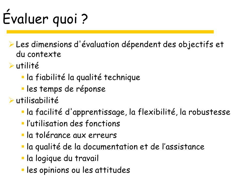 Évaluer quoi ? Les dimensions d'évaluation dépendent des objectifs et du contexte utilité la fiabilité la qualité technique les temps de réponse utili
