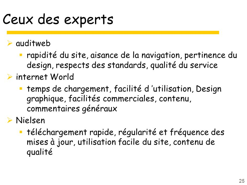 25 Ceux des experts auditweb rapidité du site, aisance de la navigation, pertinence du design, respects des standards, qualité du service internet Wor