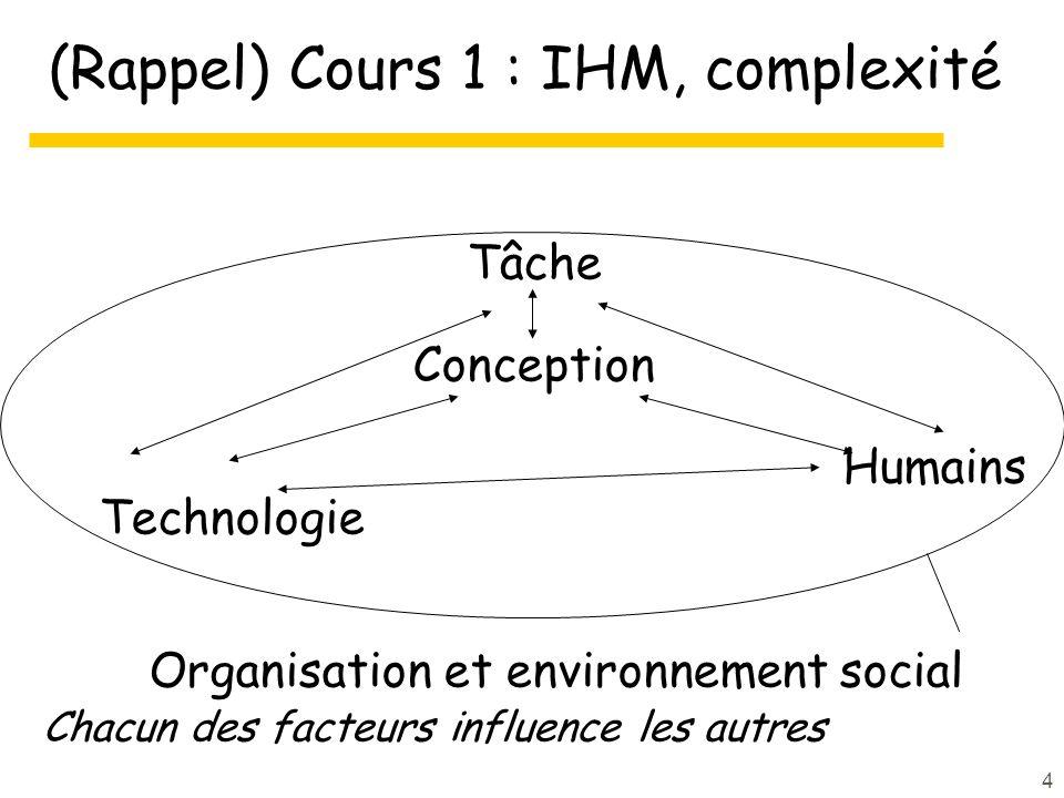 4 (Rappel) Cours 1 : IHM, complexité Tâche Conception Humains Technologie Organisation et environnement social Chacun des facteurs influence les autres
