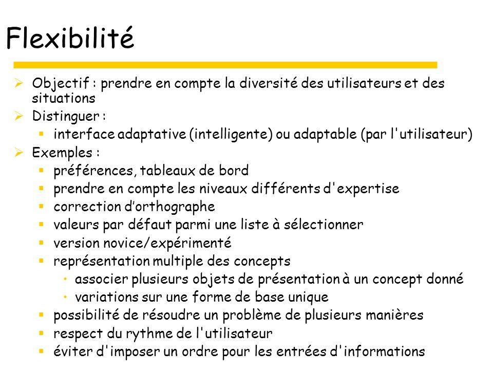 Flexibilité Objectif : prendre en compte la diversité des utilisateurs et des situations Distinguer : interface adaptative (intelligente) ou adaptable