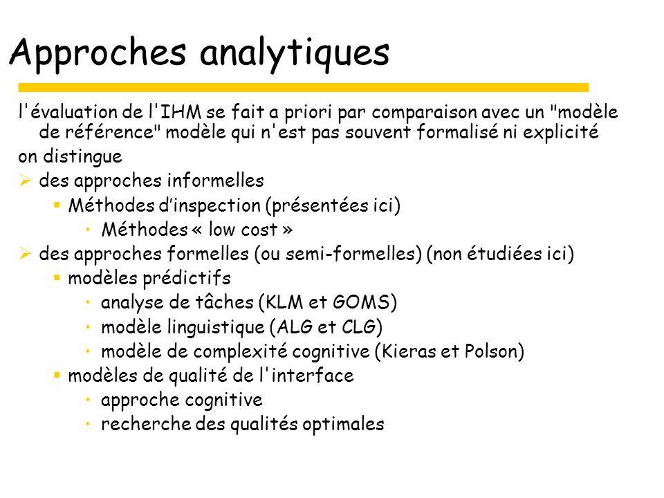 Approches analytiques l évaluation de l IHM se fait a priori par comparaison avec un modèle de référence modèle qui n est pas souvent formalisé ni explicité on distingue des approches informelles Méthodes dinspection (présentées ici) Méthodes « low cost » des approches formelles (ou semi-formelles) (non étudiées ici) modèles prédictifs analyse de tâches (KLM et GOMS) modèle linguistique (ALG et CLG) modèle de complexité cognitive (Kieras et Polson) modèles de qualité de l interface approche cognitive recherche des qualités optimales