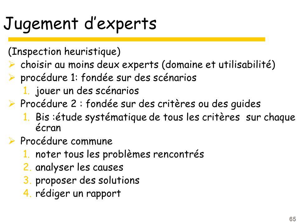65 Jugement dexperts (Inspection heuristique) choisir au moins deux experts (domaine et utilisabilité) procédure 1: fondée sur des scénarios 1.jouer u