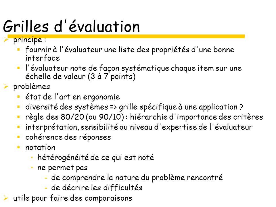 Grilles d évaluation principe : fournir à l évaluateur une liste des propriétés d une bonne interface l évaluateur note de façon systématique chaque item sur une échelle de valeur (3 à 7 points) problèmes état de l art en ergonomie diversité des systèmes => grille spécifique à une application .