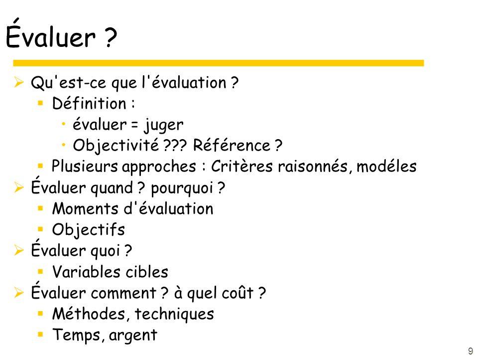9 Évaluer ? Qu'est-ce que l'évaluation ? Définition : évaluer = juger Objectivité ??? Référence ? Plusieurs approches : Critères raisonnés, modéles Év