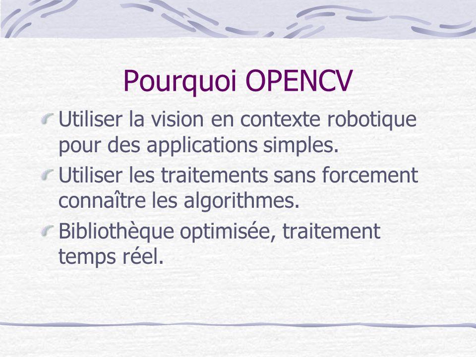 Pourquoi OPENCV Utiliser la vision en contexte robotique pour des applications simples. Utiliser les traitements sans forcement connaître les algorith