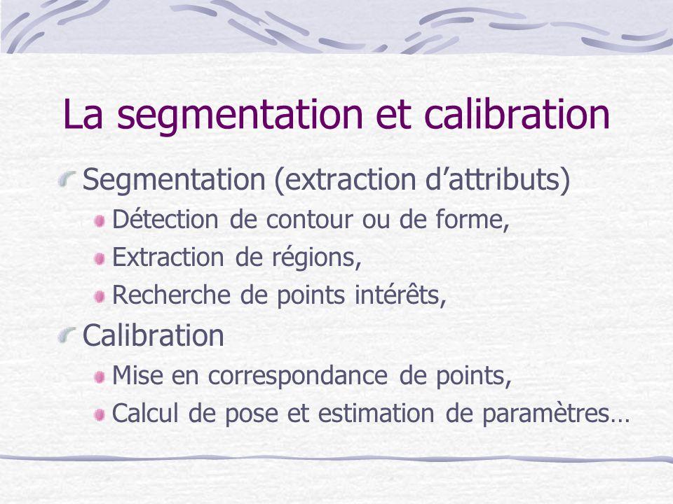La segmentation et calibration Segmentation (extraction dattributs) Détection de contour ou de forme, Extraction de régions, Recherche de points intér