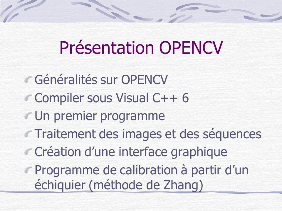 Présentation OPENCV Généralités sur OPENCV Compiler sous Visual C++ 6 Un premier programme Traitement des images et des séquences Création dune interf