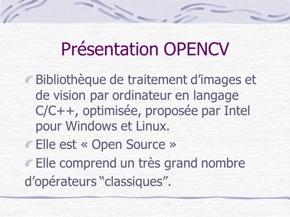Présentation OPENCV Bibliothèque de traitement dimages et de vision par ordinateur en langage C/C++, optimisée, proposée par Intel pour Windows et Lin