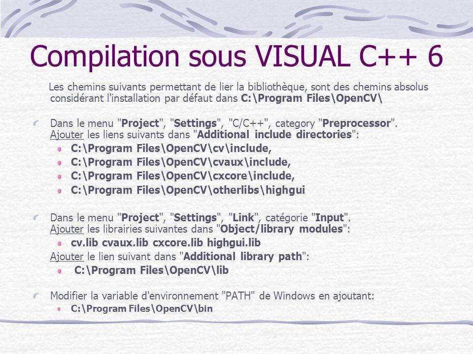 Compilation sous VISUAL C++ 6 Les chemins suivants permettant de lier la bibliothèque, sont des chemins absolus considérant l'installation par défaut