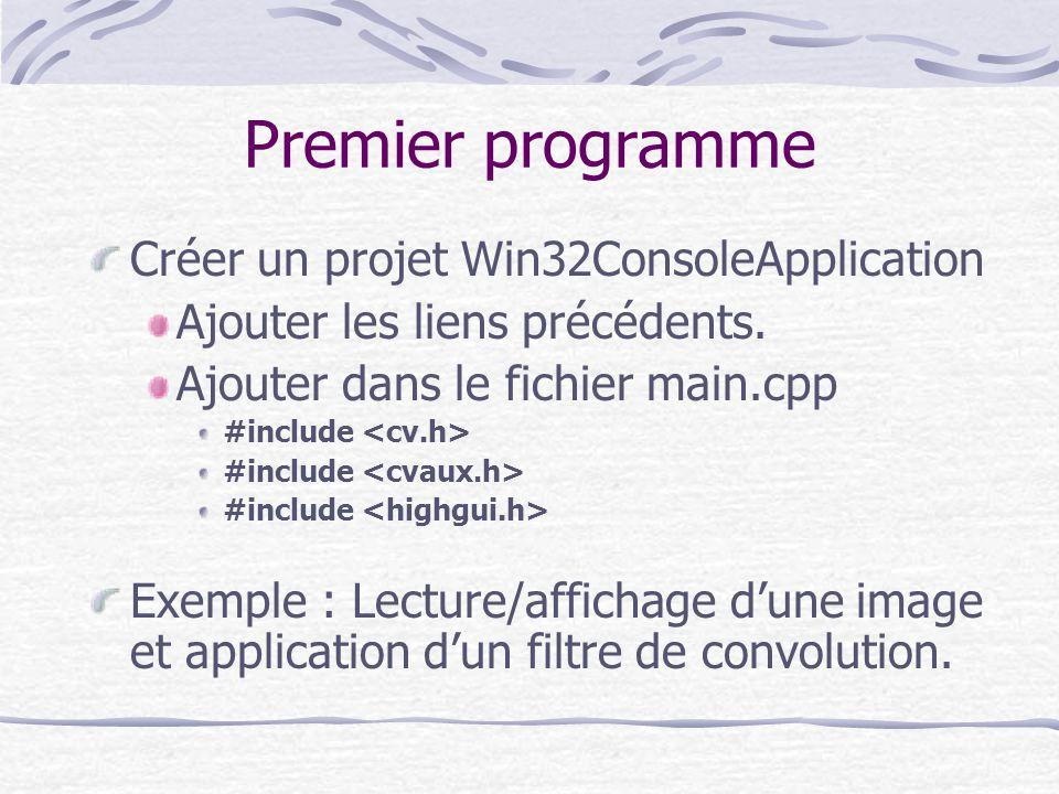 Premier programme Créer un projet Win32ConsoleApplication Ajouter les liens précédents. Ajouter dans le fichier main.cpp #include Exemple : Lecture/af